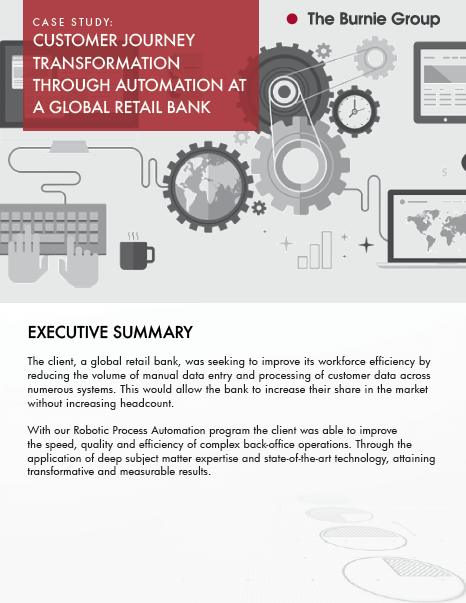 Case Study: Customer Journey transformation through automation at a global retail bank